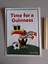 "NEW ""Time for a Guinness"" Soccer Toucan Metal Beer Tin Tacker Bar Sign Bird Shot"
