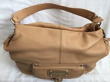Michael Kors Hudson Downtown Shoulder Bag. 100% Genuine Leather. Color - Tan.