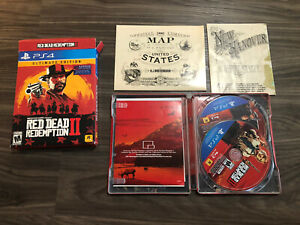 Playstation 4 PS4 RED DEAD REDEMPTION II 2 Steel Case Ultimate Edition Map Rare