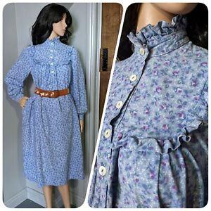 Vintage Laura Ashley Cotton Ditsy Floral Prairie Frill Smock Dress 10 12 14 40