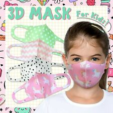 4PK Variety! Girls Kids Face Mask Unicorn Reusable Washable Breathable Cover