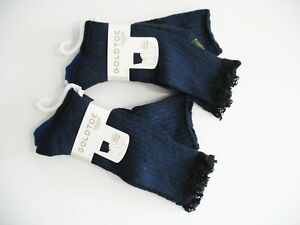 4 Gold Toe Womens Marled Lace Boot Crew Socks Navy 5599 Sz 9-11- NWT