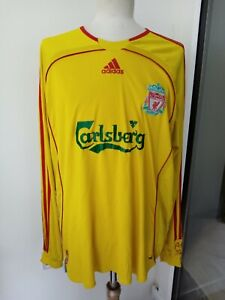 2006 Liverpool Away Long Sleeve LS Football Shirt Carlsberg Adidas Jersey Size L