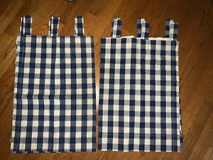 Country Charm Blue Cream Plaid Window Valance Curtains Set 2 24x29 each ❤️tw11j