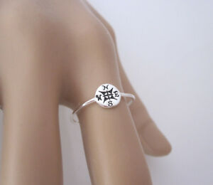 925 sterling silver COMPASS delicate ring