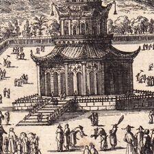 Gravure XVIIe Pagode de Porcelaine Chine China Nankin 1683 南京陶塔 南京 中国
