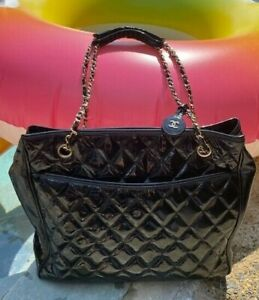 Chanel Quilted Black Patent Large Shopping Tote Bag with CC Bag Charm
