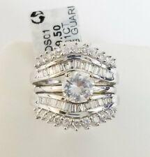 14k White Gold Round Baguette  Diamond Enhancer  Wrap Guard Anniversary Oversize