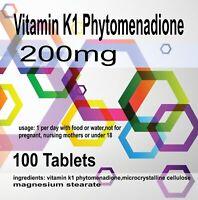 Vitamin K1 Phytomenadione 100 Tablets-Pack of 100  x 100 Tablets