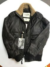 NEW!!! Abercrombie & Fitch Men's LEATHER JACKET Vintage SMALL Dark Brown $799