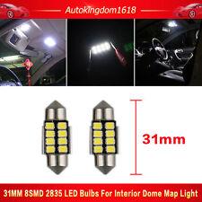 2X White 31mm LED 8SMD Canbus FREE Error Interior License Plate Seat Light Bulb