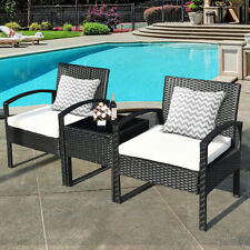 Topbuy 3 Pieces Patio Set Outdoor Wicker Rattan Furniture w/ Cushions