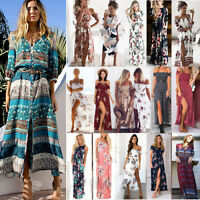 Women's Boho Long Maxi Dress Summer Beach Cocktail Evening Party Floral Sundress