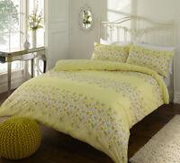 Yellow Quality Cotton mix Megan Floral Duvet Cover Set Single Double King Size