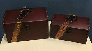 Decorative Faux Leather & Cooper Wooden Treasure Chests, Set of 2