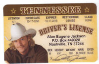 Alan Jackson Country Music Star  -  ID card Drivers License