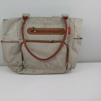 """Soho diaper bag 18"""" brown green striped changing pad included"""