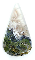 35.4ct Natural Fine Moss Agate Pear Cabochon Landscape Agate Untreated Unheated