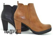 tronchetto beatles stivaletto donna basso scarponcino con tacco ed elastico zip