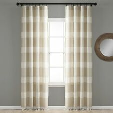 Tucker Stripe Yarn Dyed Cotton Knotted Tassel Window Curtain Panels Taupe 40X.