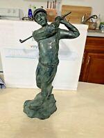 "Maitland Smith Vintage Bronze Swinging Golfer 13.5"" tall Statue"