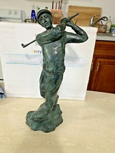 "Maitland Smith Vintage Bronze Swinging Golfer 13.5"" tall Statue"
