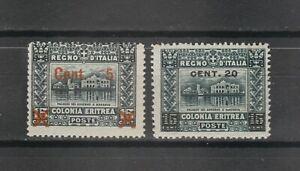 s38768 COLONIE ERITREA 1916 MXLH* Soprastampato ad Asmara e Torino 2v