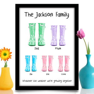Personalised Family Wellies Birthday gift for Mum Mother New home A4 print