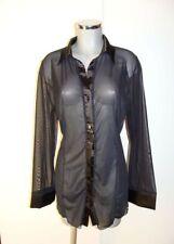 Sexy transparente Bluse Gr 46 XXL in Schwarz mit Satin durchsichtige Bluse I49