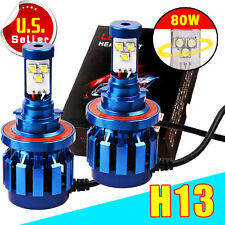 2X H13 9008 LED HEADLIGHT Kit Hi/Lo Conversion Bulb Replace HID White 80W 8000LM