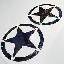 2x Army Stern Auto Aufkleber Tuning schwarz metallic Effekt Hologramm Oilslick