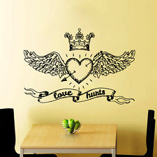 Love Wall Decals Hurts Vinyl Stickers Crown and Wings Home Bedroom Decor CC110