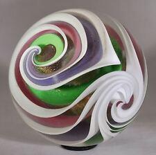 "Wald marbles handmade aventurine Lutz & uranium glass Quadrasphere marble 2.02"""