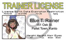 Blue TRainer POKEMON plastic collector ID card Drivers License Pallet Town Kanto