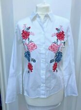 H&M white cotton blouse shirt with embroidery flowers - size 10