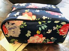 Pottery Barn Toiletry Bag Luggage Sleepover Navy Blue Floral New Teen Makeup