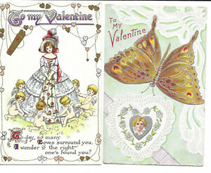 Two Cards - Artist Drawn Valentine Cards - Embossed Butterfly