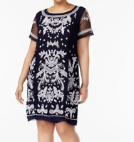 INC International Concepts Plus Size Embroidered Sheath Dress In Blue Size 0X