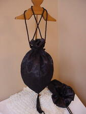 Gothic Black Satin & Lace Victorian Steampunk Reticule Purse Drawstring Sass
