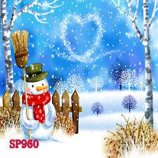 Xmas Tree Snow Winter  8x8 FT CP  PHOTO SCENIC BACKGROUND BACKDROP Sp960