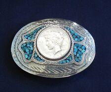 Wil-Aren Original 1922 Peace Dollar Turquoise Western Belt Buckle