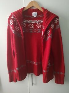 Disneyland Paris Resort Cardigan Red Knit Christmas Winter BROKEN ZIP Size L