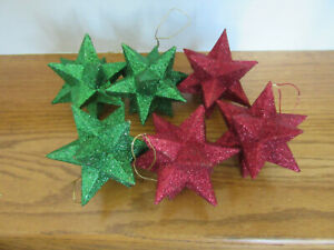 (6) Red and Green Molded Glitter Hanging Christmas Star Ornaments