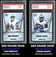 $400 EZEKIEL ELLIOTT/DAK PRESCOTT 2016 LEAF DRAFT 1ST GRADED 10 ROOKIE CARD RC