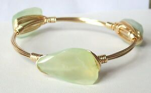 """Pale Green Chalcedony Bangle Bracelet """"Bourbon and Bowties"""" Inspired"""
