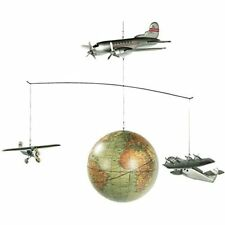 Authentic Models Around The World Mobile 3 Wooden Planes 1920 Globe Ap124