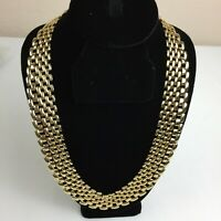 Vintage 80s Gold-tone Panther Link Wide Bib Necklace Choker 16""
