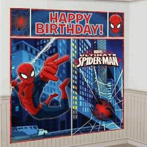 ULTIMATE SPIDERMAN Scene Setter HAPPY BIRTHDAY Party Marvel hero  photo backdrop