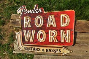 Fender Road Worn Embossed Tin Metal Sign - Guitars & Basses - Stratocaster Retro