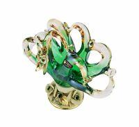 Murano Glass Napkin Holder Vase Centerpiece Capodimonte Porcelain Flower - Green